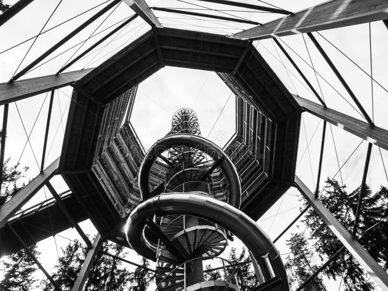 LIPNO NAD VLTAVOU, CZECH REPUBLIC - 26 September 2017. Spiral slide tube in the middle of The Treetop Walkway, Lipno nad stock photos