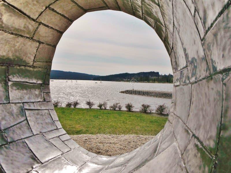 Lipnoreservoir, Tsjechische republiek, waterlichaam stock afbeelding