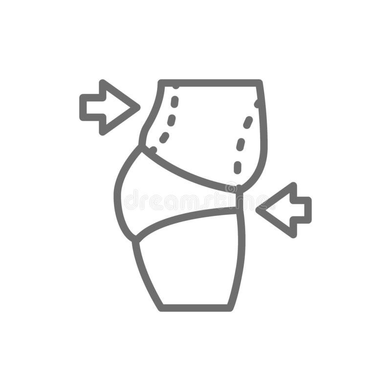 Liposuccion d'abdomen, repli de ventre, ligne icône de chirurgie plastique illustration de vecteur
