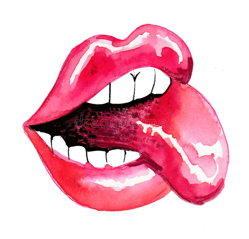 Lippen en toungue vector illustratie
