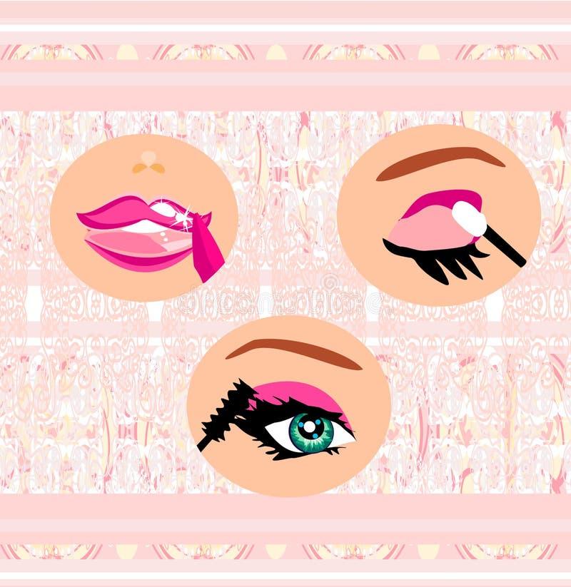 Lippen malen mit Lippenstift, Augen Tinte und Augenschminke stock abbildung
