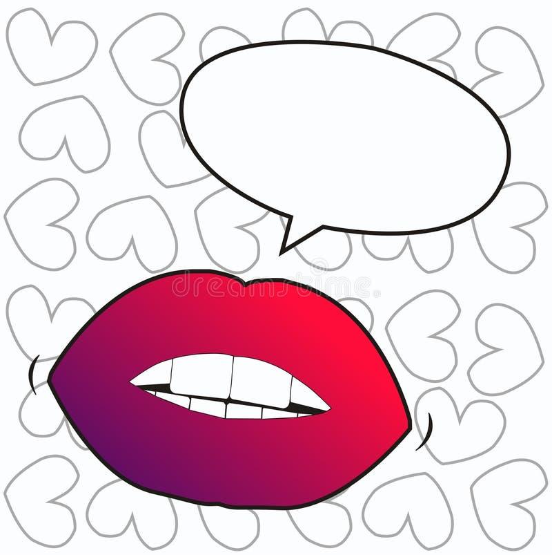 Lippen met een besprekingsbel stock illustratie