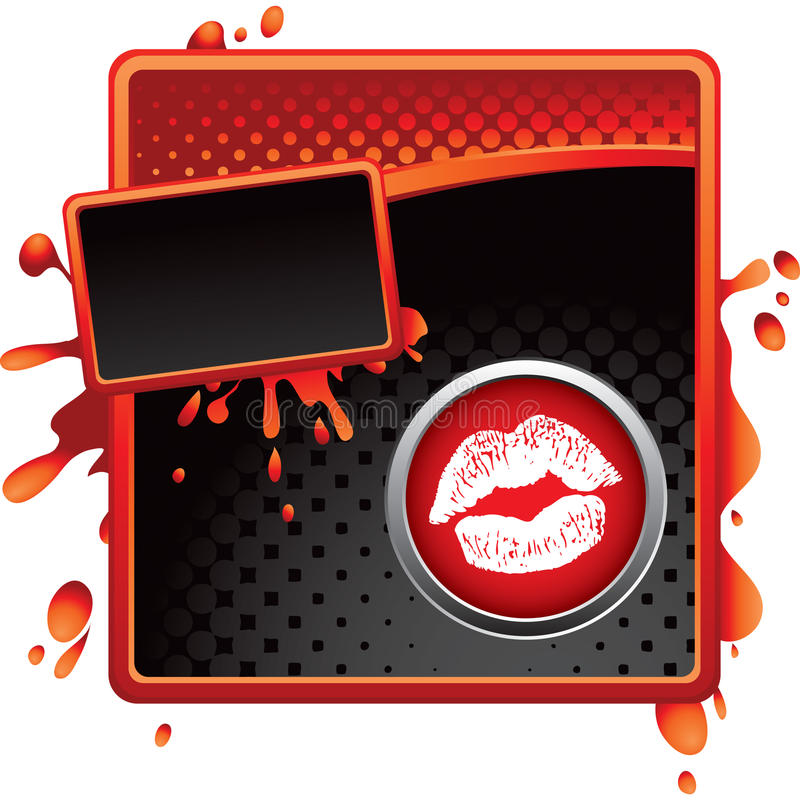 Lippen op halftone banner royalty-vrije illustratie