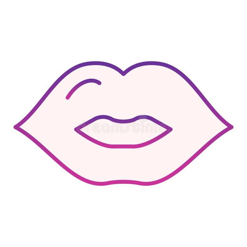 Lippenflache Ikone Purpurrote Ikonen des Kusses in der modischen flachen Art Mundsteigungs-Artentwurf, bestimmt f?r Netz und App  lizenzfreie abbildung