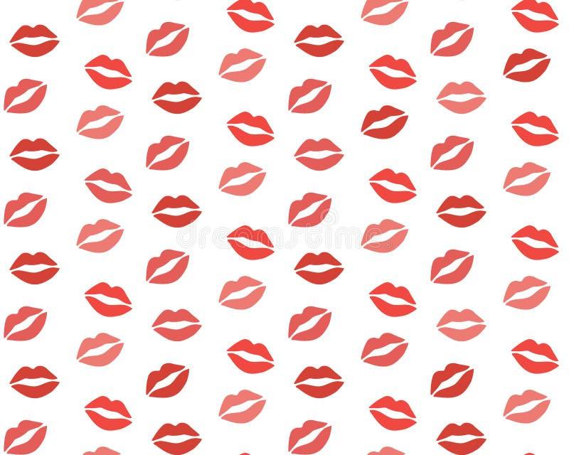 Lippenpatroon Vector naadloos patroon met vrouw ` s rode en roze het kussen vlakke die lippen op wit worden geïsoleerd royalty-vrije illustratie