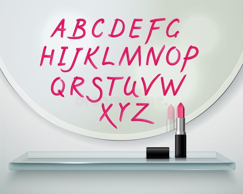 Lippenstift Alfabet-Regal-Spiegel-realistische Zusammensetzung vektor abbildung