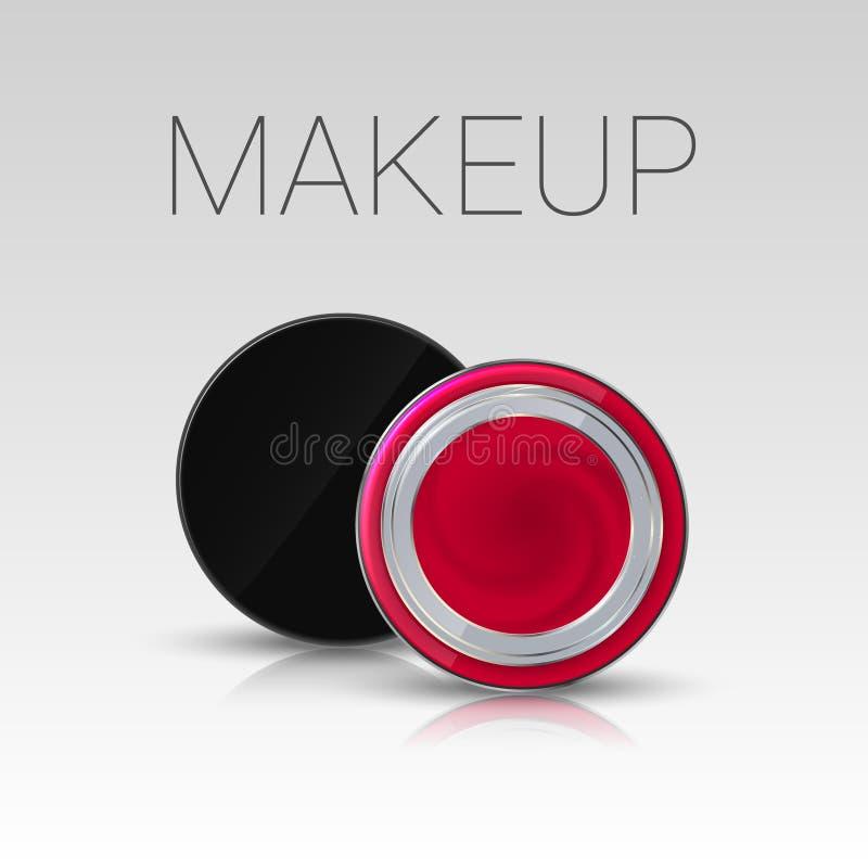 Lippenstift in een kruik Het product van de wenkbrauwenmake-up Vector stock illustratie