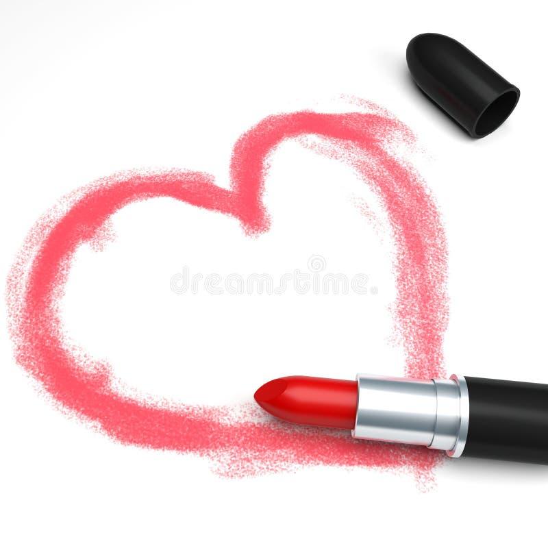 Lippenstift en hart vector illustratie