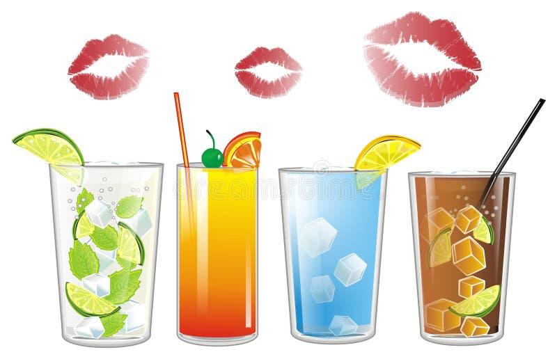 Lippenstift met cocktails royalty-vrije illustratie