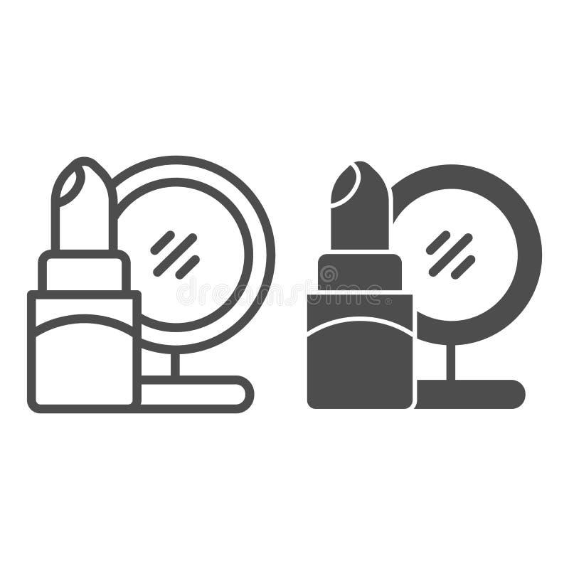 Lippenstift- und Spiegellinie und Glyphikone Kosmetikvektorillustration lokalisiert auf Wei? Make-upentwurfs-Artentwurf lizenzfreie abbildung