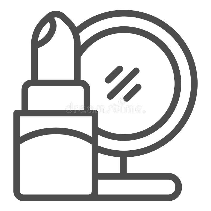 Lippenstift- und Spiegellinie Ikone Kosmetikvektorillustration lokalisiert auf Wei? Make-upentwurfs-Artentwurf, entworfen lizenzfreie abbildung