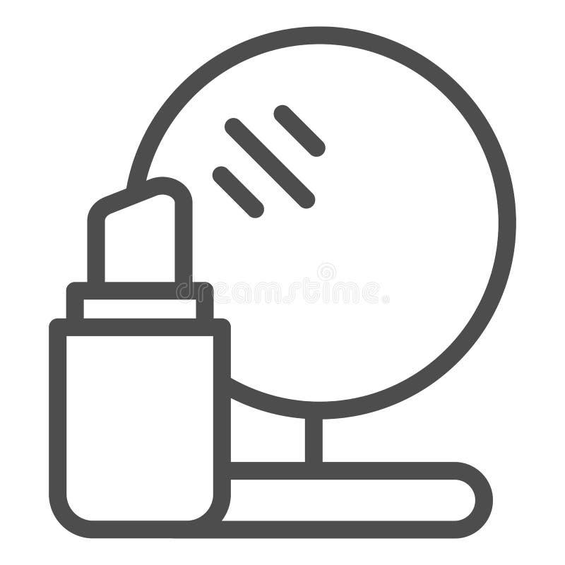 Lippenstift- und Spiegellinie Ikone Make-upvektorillustration lokalisiert auf Weiß Kosmetikentwurfs-Artentwurf, entworfen vektor abbildung