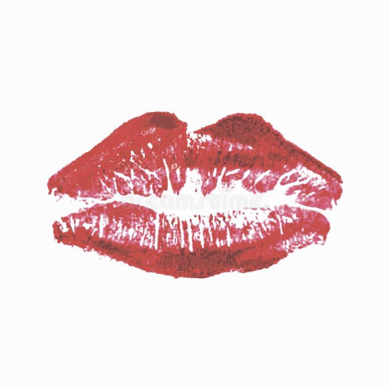 Lippenstiftkus op witte achtergrond wordt geïsoleerd die Realistische lippen vector illustratie