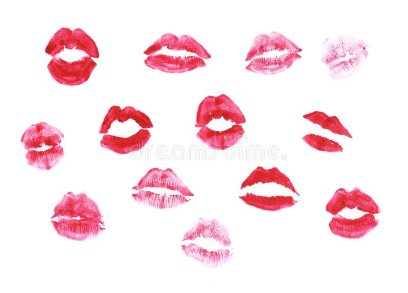 Lippenstiftkussdruck stockfotografie