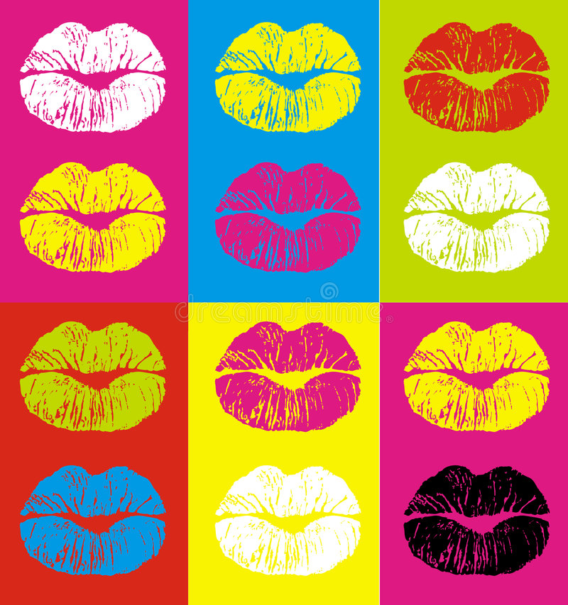 Lips. Varicoloured lips on a varicoloured background