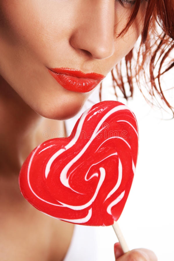 Lips and candy royalty free stock photos