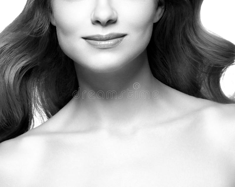 Lips and cheen. Beauty Woman face Portrait. Black and white. Beautiful model Girl with Perfect Fresh Clean Skin. Youth and Skin Care Concept royalty free stock photos