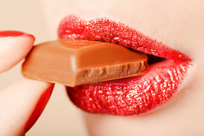 Lips With Chocolate Stock Image