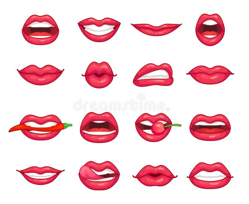 Lips collection. Beautiful girl smiling, kissing, biting pepper, cherry and lip with lipstick. Cartoon beauty kiss royalty free illustration