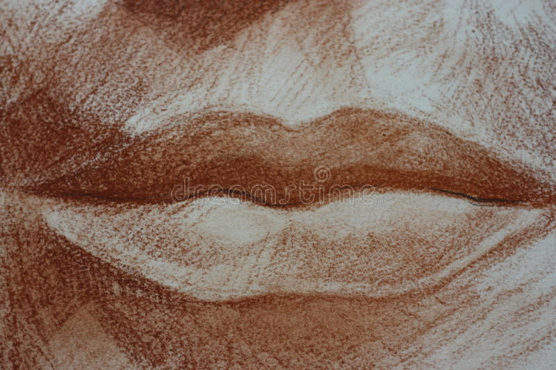 Lips drawing of a woman portrait head pastels royalty free stock photography