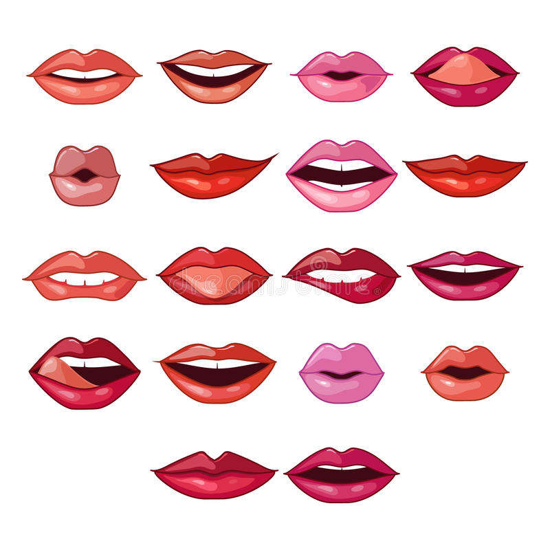 Lips Expressions and Shapes vector illustration