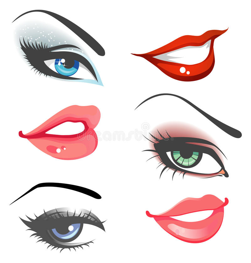 Lips & eyes set stock illustration