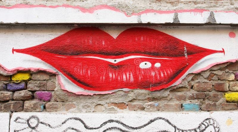 Lips graffiti stock image