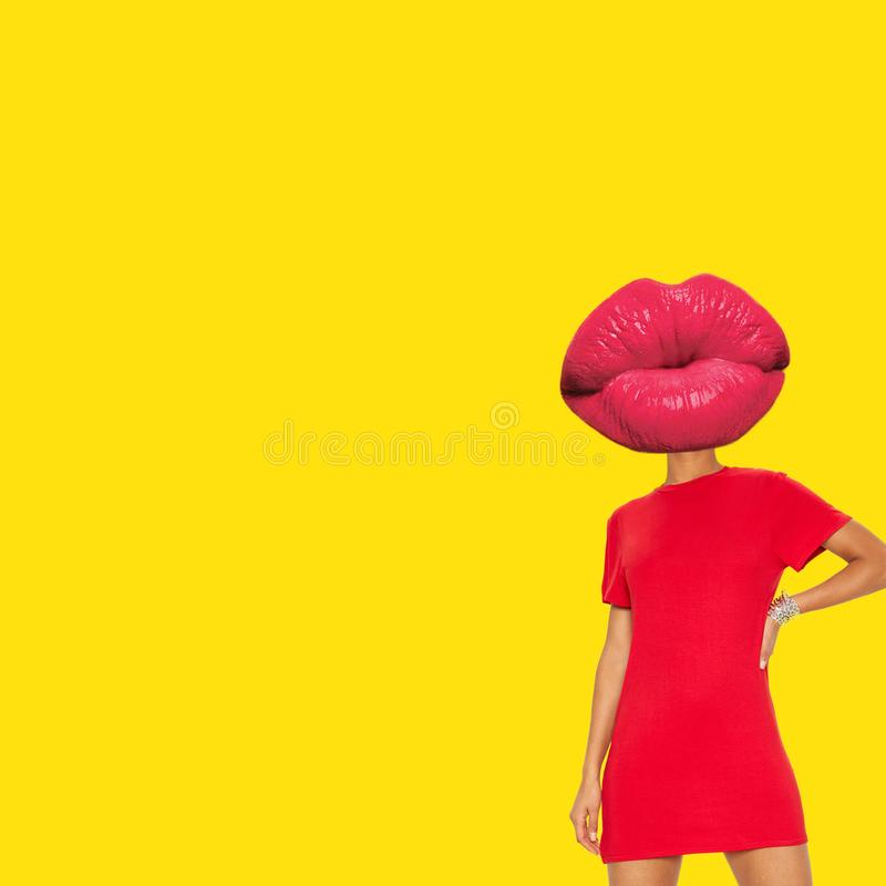 Lips head with woman body and red t shrit royalty free stock photo
