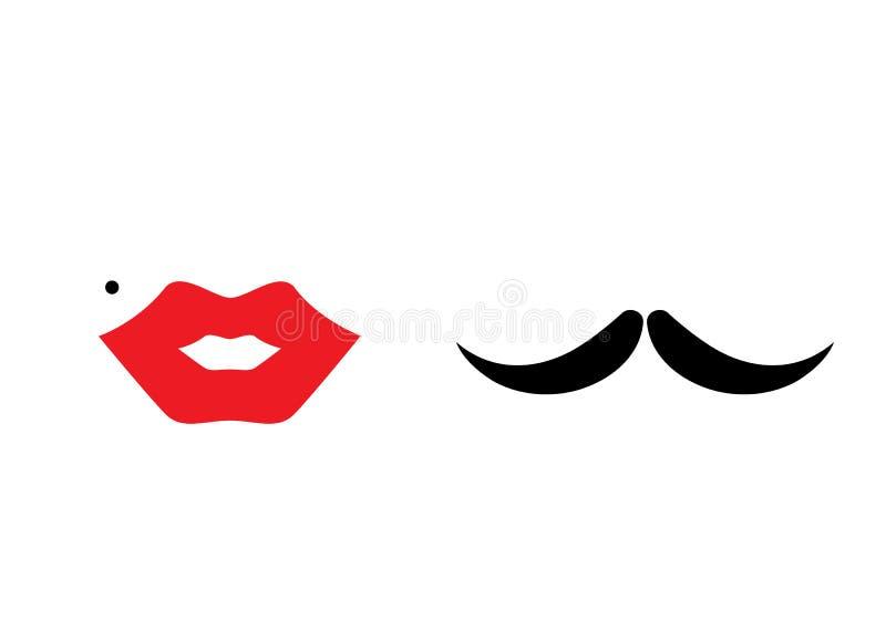 Lips, heart, mustache stock illustration