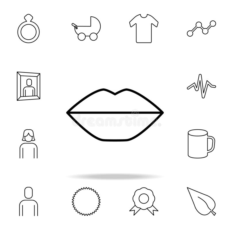 Lips icon. Detailed set of simple icons. Premium graphic design. One of the collection icons for websites, web design, mobile app. On white background stock illustration