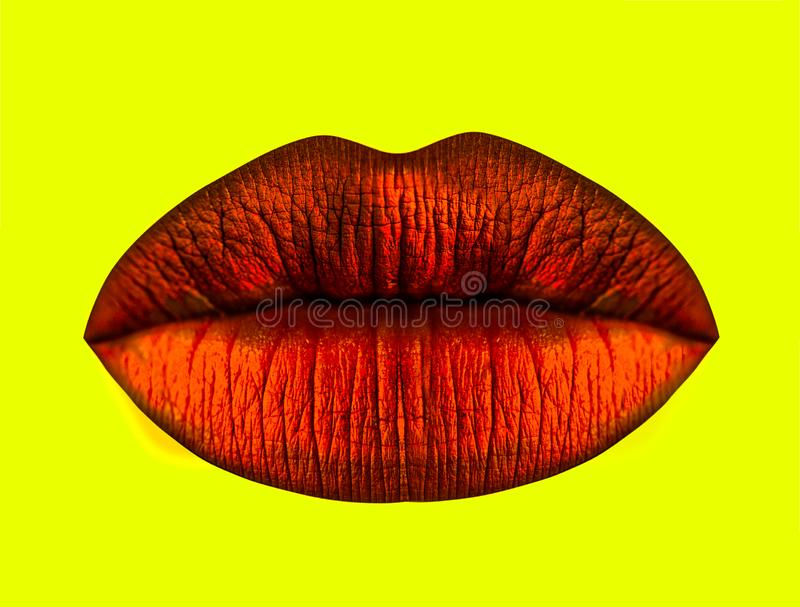 Lips icon, mouth of female on yellow background isolated. Glamour lipstick of red color for passion kiss. Sexy. Background for cosmetics or gifts for women royalty free stock images