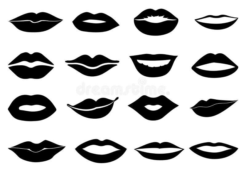 Lips icons set royalty free illustration