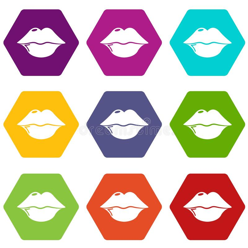 Lips icons set 9 vector. Lips icons 9 set coloful isolated on white for web stock illustration