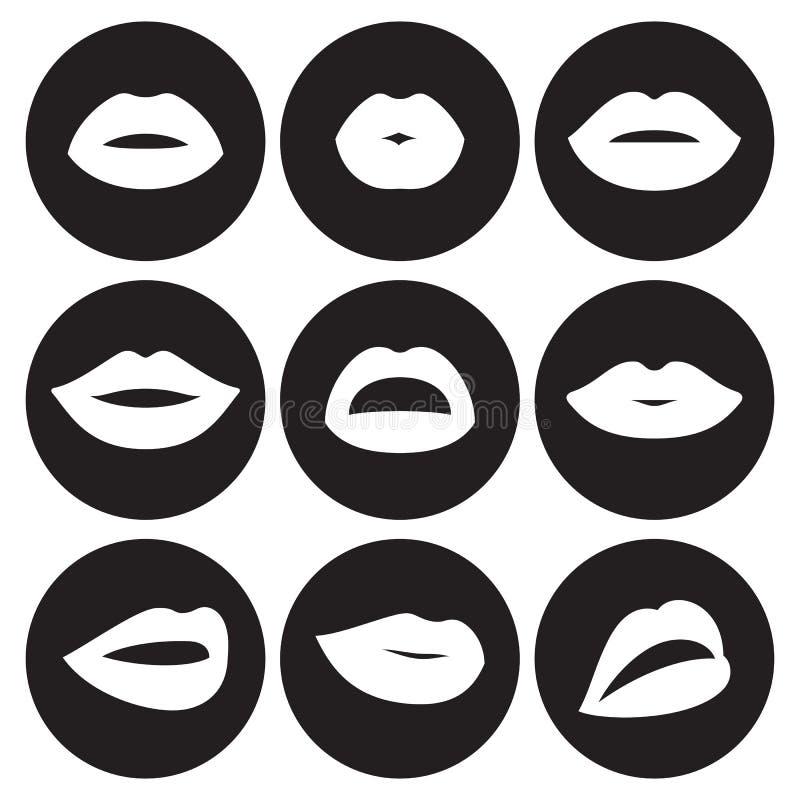 Lips icons set. White on a black background royalty free illustration