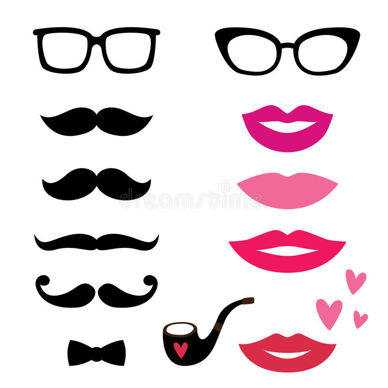 Lips and mustaches set vector illustration