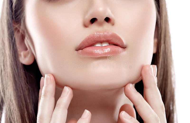 Lips nose chin Woman freckle happy young beautiful with healthy skin royalty free stock images