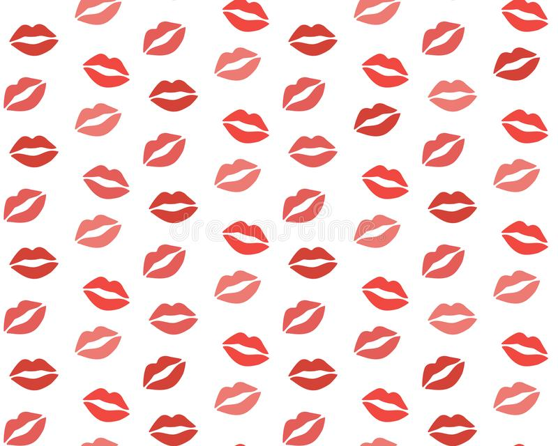 Lips pattern. Vector seamless pattern with woman`s red and pink kissing flat lips isolated on white.  royalty free illustration