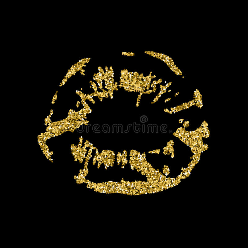 Lips print silhouette with golden sparkles. stock illustration