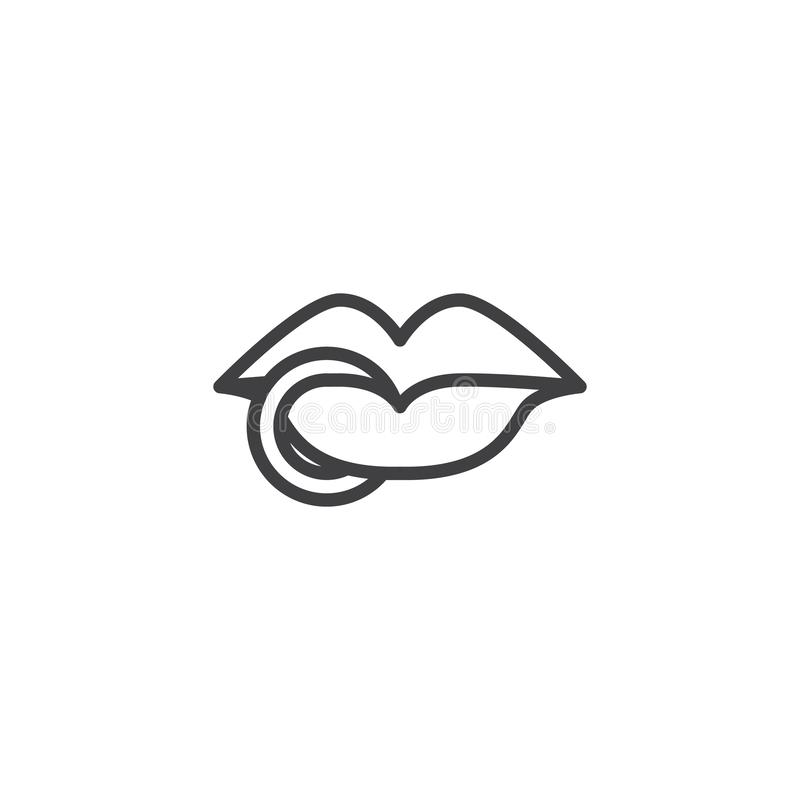 Lips ring piercing outline icon royalty free illustration