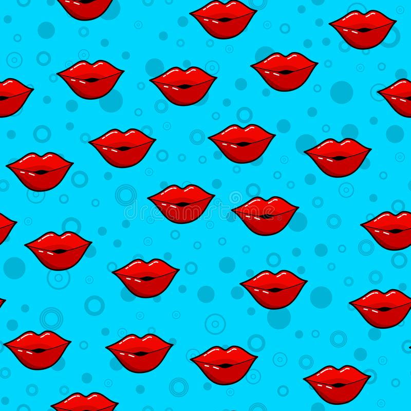 Lips seamless pattern on white background. Paper print design. Abstract retro vector illustration. Trendy textile, fabric,. Wrapping. Modern space decoration stock illustration
