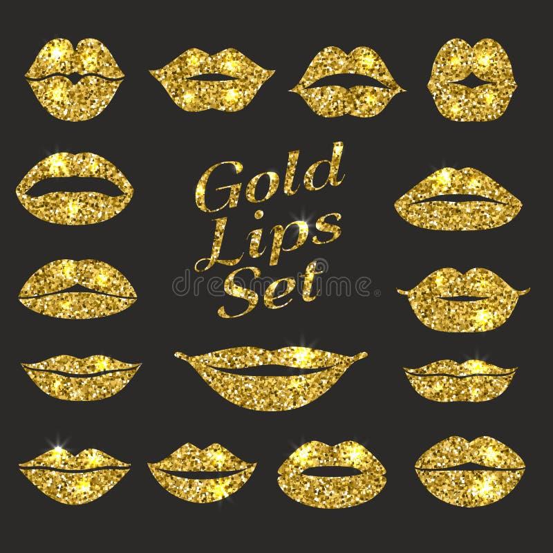 Lips set. Design element of glitters