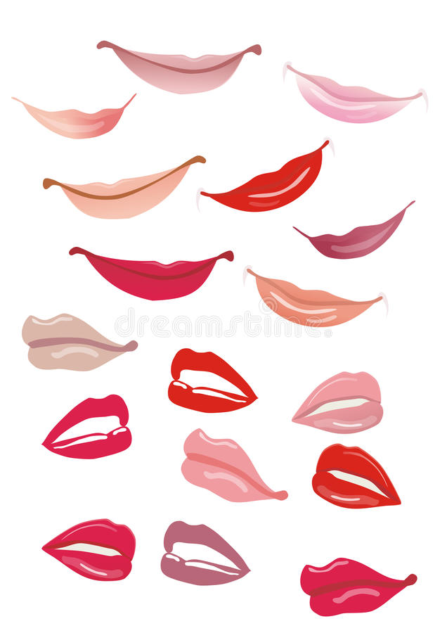 Lips and smile. Illustration lips and smiles on white background