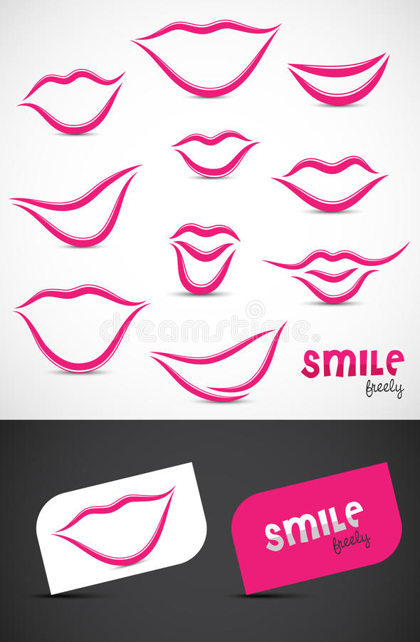 Lips and Smiles Collection vector illustration