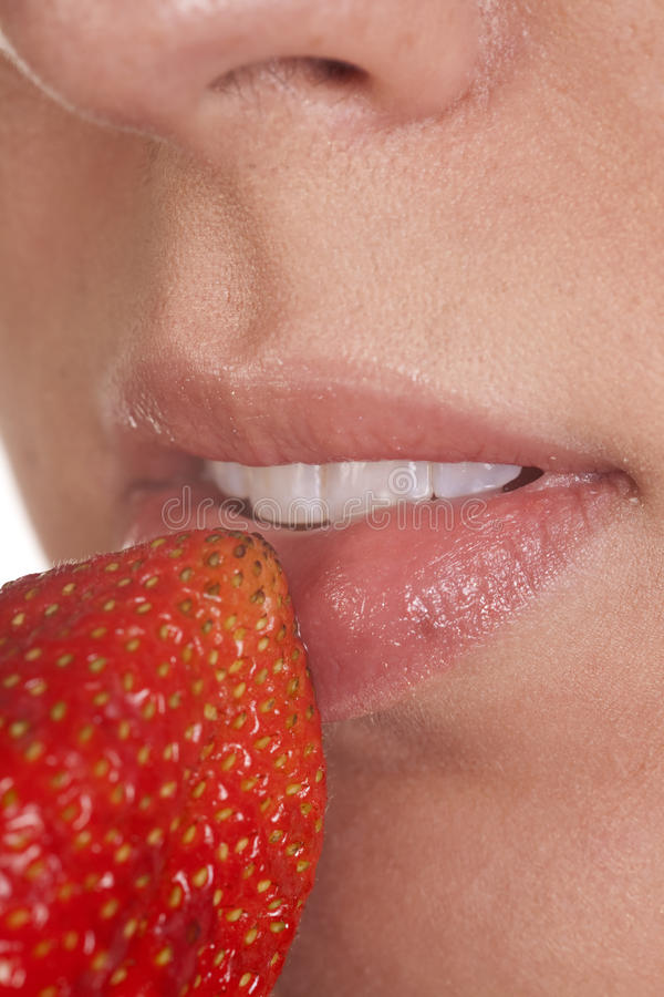 Download Lips with strawberry stock image. Image of adult, good - 16770869