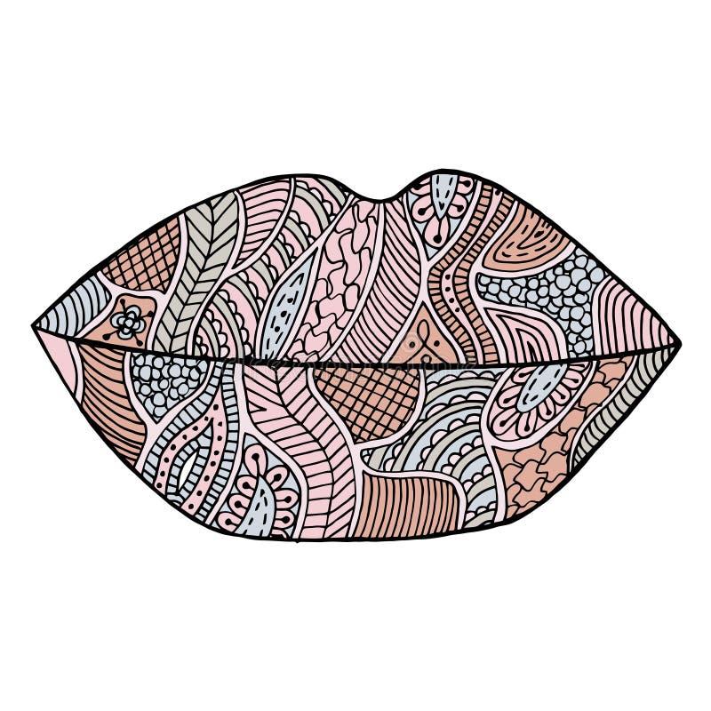Lips vector. Lipstick zenart. Kiss zen tangle. Makeup zen doodle. Mouth zentangle. Smile zendoodle. Cosmetic coloring book. Lips vector. Lipstick zenart. Kiss royalty free illustration