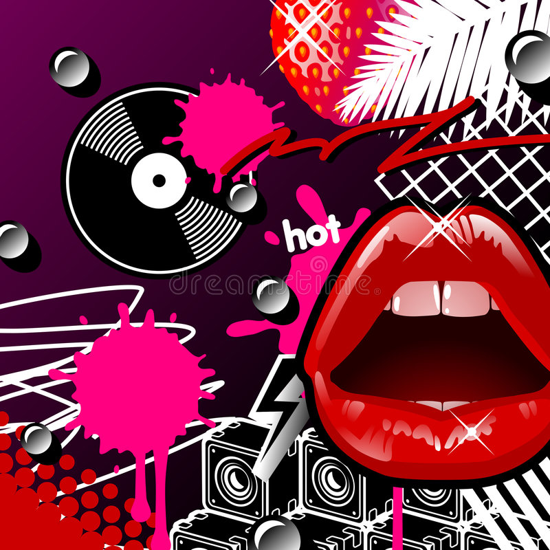 Download Lips And Vinyl stock vector. Image of decoration, drop - 3631587