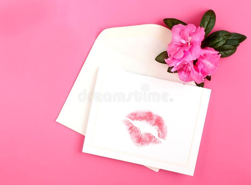 Lipstick On Card Royalty Free Stock Photos
