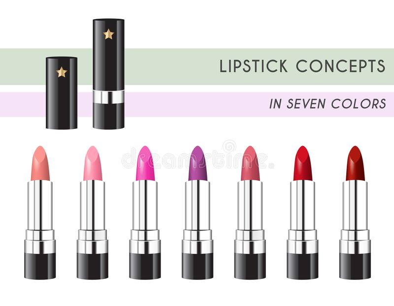 Lipstick Concept in 7 Colors. Using standard gradient. No gradient meshes used, contains transparencies vector illustration