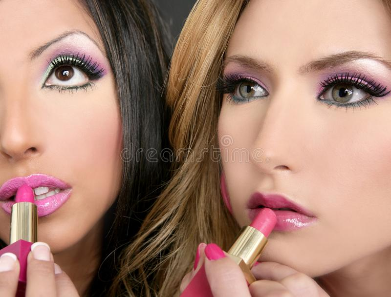 Lipstick fashion girls barbie doll stock photography