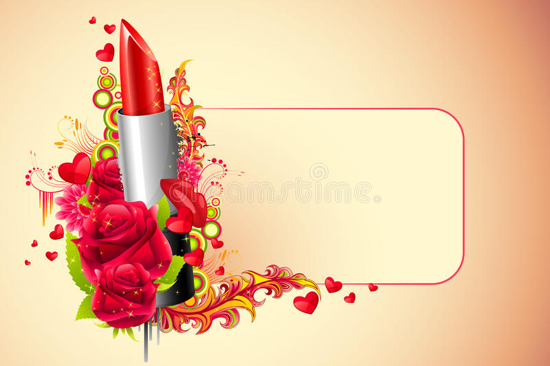 Lipstick with Flowers stock image